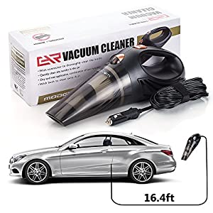 Car Vacuum - Car Vacuum Cleaner - Car Vacuum High Suction Power 4.3 KPa Handheld Portable Auto Detailer Wet Dry - Pet Hair - Upholstery - Power Cord 16.7FT(5m) - Incl.Extra Filter