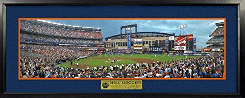 Shea Stadium Citi Field (NY Mets Final Pitch At Shea Stadium Panoramic (Deluxe) Framed)