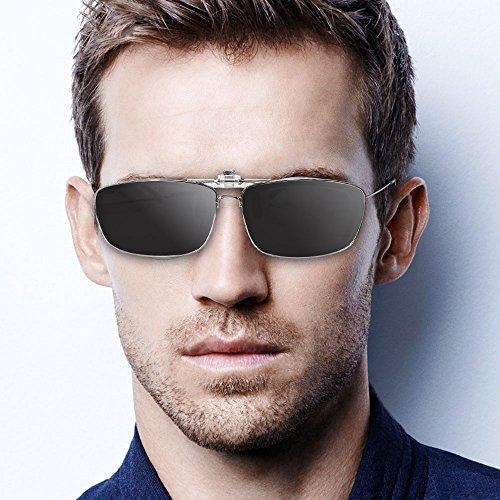 Mens sol de Negro lectores al libre womens Clip sol gafas lentes polarizadas polarizado up las graduadas sobre aire de gafas Flip caber en deportes qWWtOY