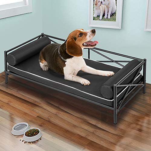 LOVSHARE Metal Frame Pet Bed 41.9X21.4X15.7 Inches Metal Dog Bed Animal Lounge Detachable Bed Oxford Cloth Cushion for Dogs Pet Bed Metal Frame Dog Sofa Furniture for Dogs Bottom Hanging Design