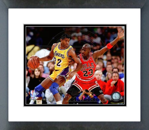 Michael Jordan guarding Magic Johnson 1990 Framed Picture 8x10