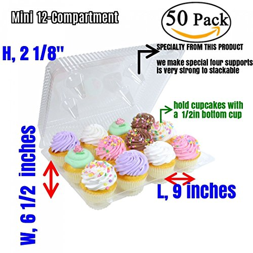 (Mini Cupcake Boxes, Mini Cupcake Containers 12-Compartment Cupcake Container (50, Mini 12 Compartment Cupcake Container))