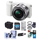 Alpha A5100 Mirrorless Digital Camera with 16-50mm Lens, White Body, Black Lens – Bundle with Camera Case, 16GB Class 10 SDHC Card, Cleaning Kit, 40.5mm Filter Kit, Software Package and More For Sale