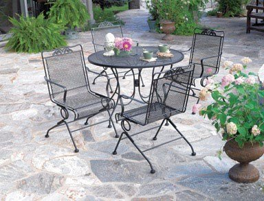 Meadowcraft Round Mesh Patio Dining Table Glenbrook 42'' W X 42'' D X 28.28'' H Charcoal Powerder Coate by Arlington House