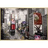 New York Poster and Frame (Plastic) - Times Square, Yellow Cabs, Advertisements (36 x 24 inches)