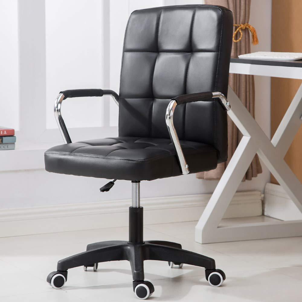 LNLN kontor svängbar stol, hem skrivbord datorstol, enkel stildesign, bekvämt läder och svamp, tjockt och brett ryggstöd, justerbar höjd, grå rosa