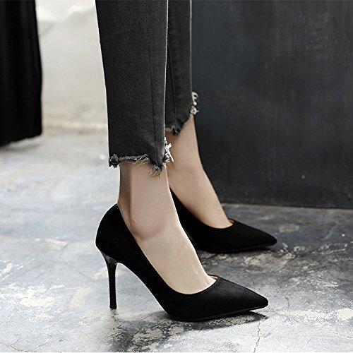 Jqdyl High Heels 2018 Fruuml;hling neue High Heels weibliche Spitze mit professionellen Schuhe wilde Schuhe mit Absauml;tzen  37|Black 10cm