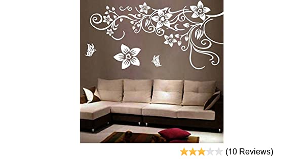709714a71 Flower Vine Wall Decal Sticker Living Room Stickers Vinyl Removable Wide  150cm High 80cm White Color - - Amazon.com