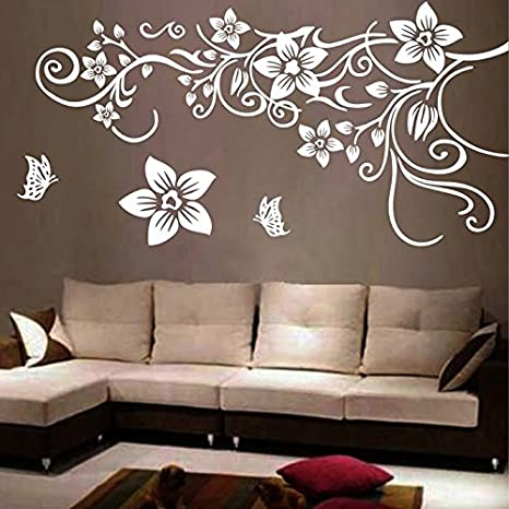 e319908dadf Flower Vine Wall Decal Sticker Living Room Stickers Vinyl Removable Wide  150cm High 80cm White Color
