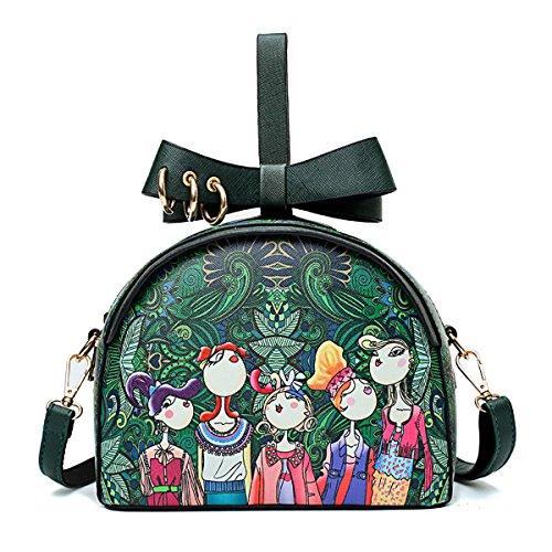 Coolives Señoras Mini bolso de la muñeca Verano bandolera impresa Lindo bolso de la cruz para las niñas Negro