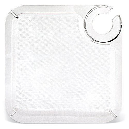 Square Tidbit Tray - Acrylic Buffet & Party Plate with Built-In Stemware Holder - Set of 4