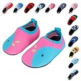 Lauwodun Kids Water Shoes Lightweight Anti Slip Barefoot Aqua Sock Shoes for Beach