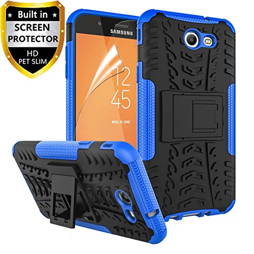 RioGree for Samsung Galaxy J7 Prime Case, Phone Case for Galaxy J7 Sky Pro/Galaxy J7 V / J7 Perx/Galaxy Halo / J7 2017, with Screen Protector Kickstand Cover Skin, Blue