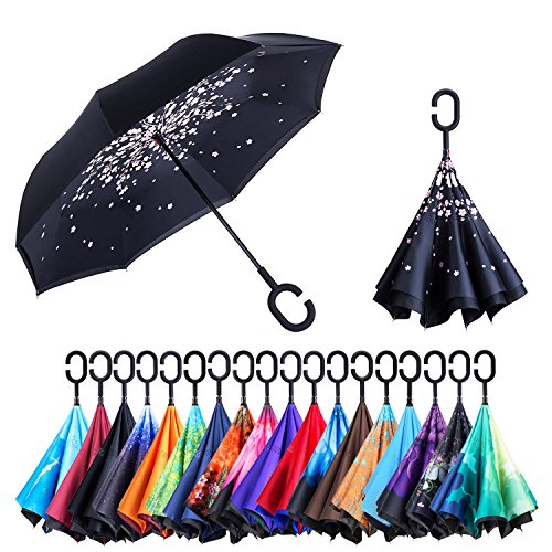 NewSight Reverse/Inverted Double-Layer Waterproof Straight Umbrella, Self-Standing & C-Shape Handle & Carrying Bag for Free Hands, Inside-Out Folding for Car Use (Blooming - Grip Firm Handle
