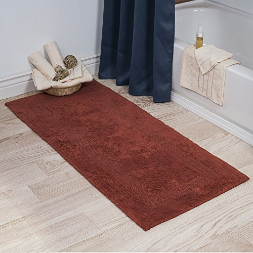 Cotton Bath Mat- Plush 100 Percent Cotton 24x60 Long Bathroom Runner- Reversible, Soft, Absorbent, and Machine Washable Rug by Lavish Home (Brick) (Orange Burnt Runner Rug)