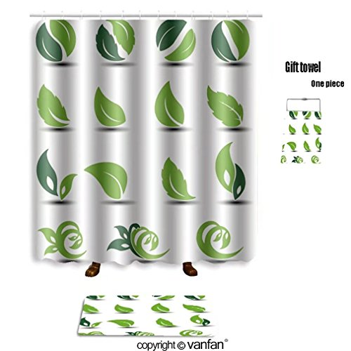 Vanfan Bath Sets With Polyester Rugs And Shower Curtain Vector Natural Rounded Symbols With Leaf Bio Shower Curtains Sets Bathroom 72 X 88 Inches 31 5 X 19 7 Inches Free 1 Towel And 12 Hooks