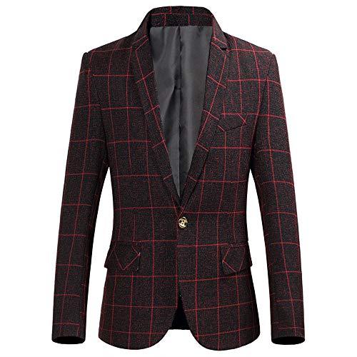 Da Giacca Red Blazer Vestito Rosso Fibbia Slim Fit Zolimx Outwear Cappotto Giacca Uomo Vino wine Monofila Manica Lunga Plaid Elegante 8ZxFqwHP