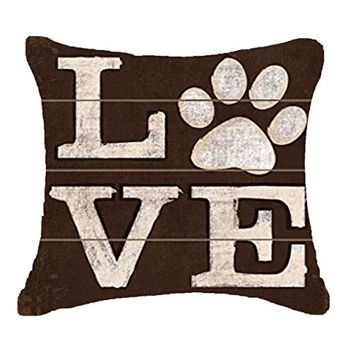 FELENIW. Retro Pug pet Dog Pug Dog Paws Love Sunglasses Throw Pillow Cover Cushion Case Cotton Linen Material Decorative 18