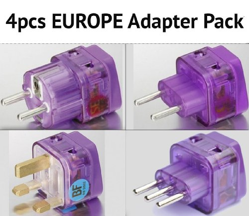 NEW! 4 Pieces HIGH QUALITY EUROPE TRAVEL ADAPTER Pack for AL