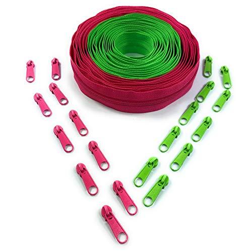 Nuburi - Zipper by The Yard - 5 Yards of Make Your Own Zipper - 25 Zipper Pulls (Spring Green & Hot Pink)