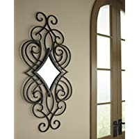 Ashley Furniture Signature Design - Oilbhe Diamond Shaped Scroll Design Metal Wall Mirror - Vertical Only - Traditional - Black
