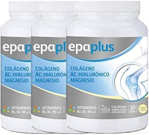 Colágeno Epaplus, magnesio y AH, sabor limón, paquete de 3
