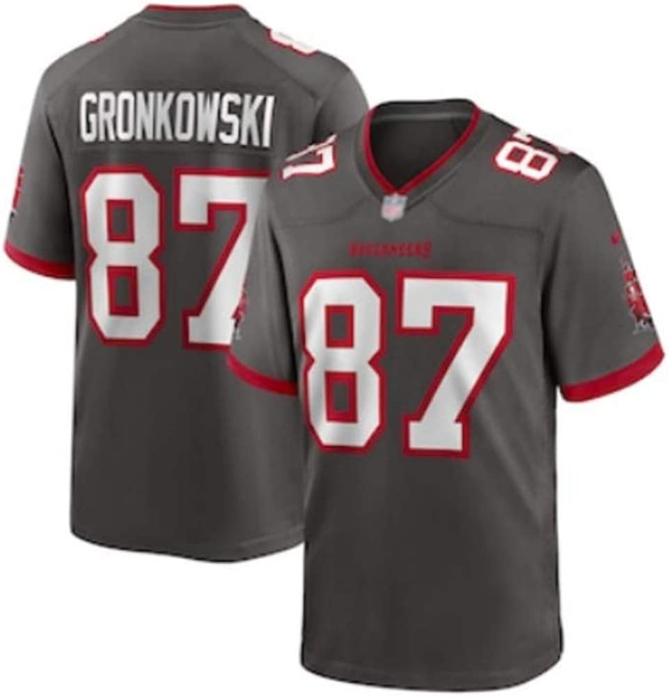 Camiseta de Rugby Rob Gronkowski # 87 Camiseta de f/útbol Americano Tampa Bay Buccaneers Sudadera Deportiva Unisex de Manga Corta Gimnasio Bordado Transpirable Limpieza repetible
