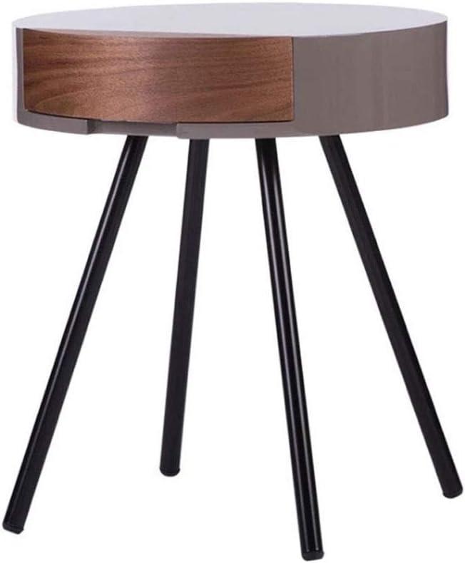 Oprecht Kiki Moderne, eenvoudige salontafel, woonkamer-sofa, bijzettafel, slaapkamer, creatieve theetafel, ronde nachtkastje, bijzettafel, couchtafel Walnut Color vPZCHKH