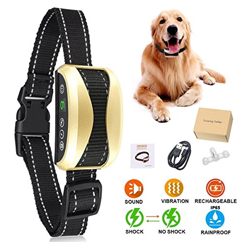 No Bark Collar, 2018 Upgraded Humane Dog Bark Collar, Rechargeable Anti Barking Collar with 7 Adjustable Sensitivity Beep/Vibration/No Shock or Harmless Shock for Small Medium Large Dogs (Best No Bark Collar For Beagles)