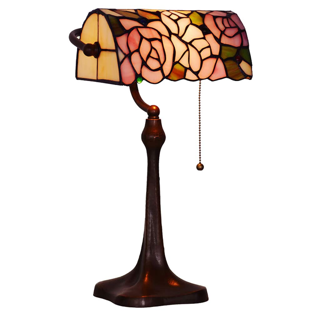 ティファニーテーブルランプ、10インチヨーロッパのクリエイティブステンドグラスの卓上ランプ、ローズ装飾テーブルライト、銀行ランプ、ベッドサイドランプ B07KRTD5GH