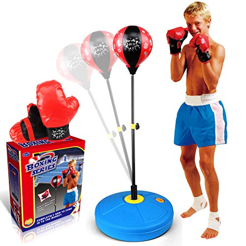HAIJIN Punching Bag for Kids Boxing Set Includes Kids Boxing Gloves and Adjustable Kids Punching Bag with Stand+Hand…