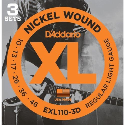 Round Wound Light Regular Nickel - D'Addario EXL110-3D Nickel Wound Electric Strings Light 3-Pack