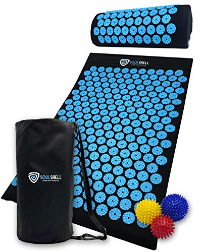 Acupressure Mat and Pillow Set for Lower Back Pain Relief & Muscle Relaxation – Acupuncture Mattress + Spiky Ball…