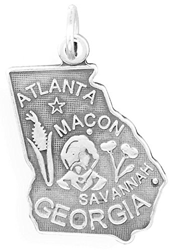 Oxidized Sterling Silver Charm, State of Georgia, 1 inch
