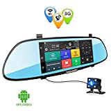 Anstar 3G Car DVR 7.0 inch Dash Cam Android 5.0 GPS Navigation Touch Screen Mirror Accident Recorder Dual Lens Camera Full HD 1080P Rear Parking WIFI FM Cam Recorder with 16G TF Card