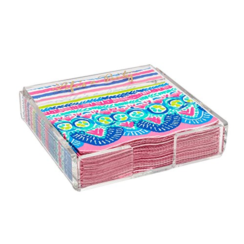 Lilly Pulitzer Acrylic Napkin Holder with Set of 20 Disposable Paper Napkins (Catch The ()