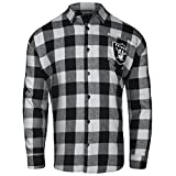 FOCO OAKLAND RAIDERS LARGE CHECK FLANNEL SHIRT - MENS MEDIUM