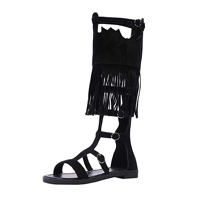 d40d3beba0cd Womens Flat Sandals,Knee High Strappy Roman Cut Out Buckle Open Toe Hollow  Tassel Shoes