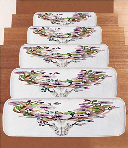 SoSung Skull Coral Fleece Stair Treads,Stair Tread Mats,Deer Animal Skull with Floral Horns Nature Inspired Dead and Living Art Print,(Set of 5) 8.6