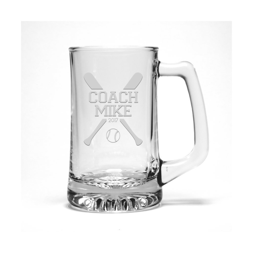 Personalized Softball Coach Etched Beer Mug - Sports Beer Glass