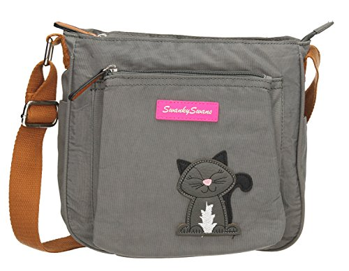 Motif Ladies Pocket with SWANKYSWANS Grey Crossbody Emmy Bag Designer Side Cat Dark Womens FqH4T