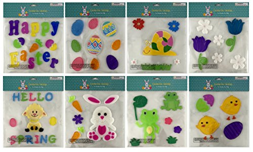 Easter Spring Bunny Eggs Chicks Gel Sticker Window Clings Decoration Bundle of 8 Packages (Window Decorations Gel)