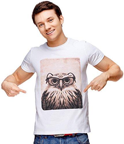 T-shirt Shot Youth (Retreez Vintage Funny Nerdy Owl Mugshot Graphic Printed Unisex Men/Boys/Women T-Shirt Tee - White - X-Small)