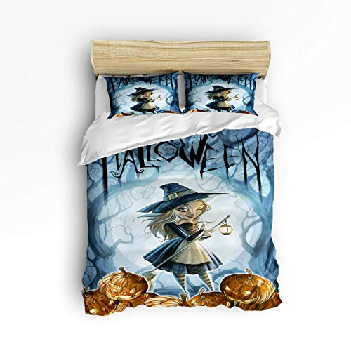 (YEHO Art Gallery Twin Size Cute 3 Piece Duvet Cover Sets for Boys Girls,Horror Halloween Witch Pumpkin Moon Light Design,Decorative Bedding Set Include 1 Comforter Cover with 2 Pillow Cases)