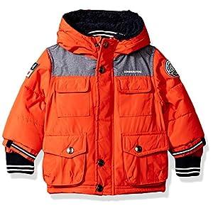 London Fog Baby Boys Heavyweight Shirt Pocket Parka Coat, Orange, 12M