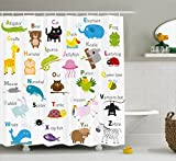 Ambesonne Animal Shower Curtain by, Cute Zoo Creatures Turtle Unicorn Octopus Ladybug Frog Cat Giraffe Duck Kids Display, Fabric Bathroom Decor Set with Hooks, 75 Inches Long, Multicolor