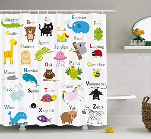 Ambesonne Animal Shower Curtain by, Cute Zoo Creatures Turtle Unicorn Octopus Ladybug Frog Cat Giraffe Duck Kids Display, Fabric Bathroom Decor Set with Hooks, 75 Inches Long, Multicolor by Ambesonne