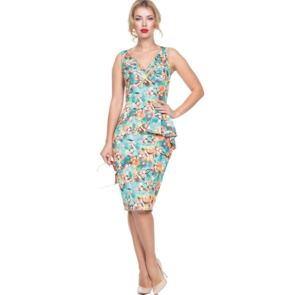 1950s Pencil Dresses & Wiggle Dress Styles Voodoo Vixen Jessa Tropical Bird Print Pencil Dress Green $61.95 AT vintagedancer.com