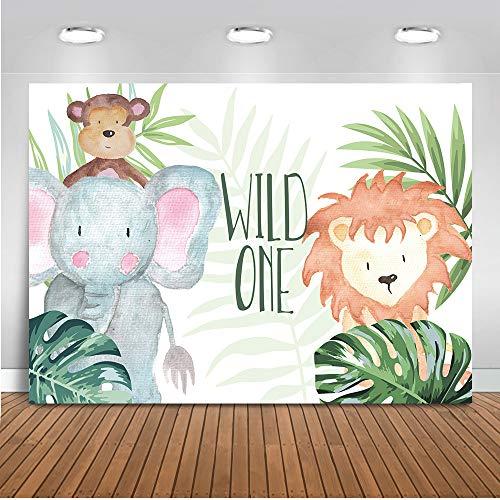 Mocsicka Wild One Photo Backdrop 7x5ft Vinyl Happy 1st Birthday Animal Theme Safari Photo Booth Backdrops Cute Elephant Lion Baby Shower Photography Background ()
