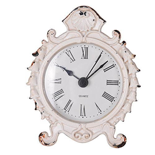 NIKKY HOME Baroque Style Pewter Quartz Small Round Table Clock 3.12'' by 1.35'' by 3.87'', White ()